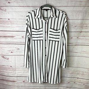 *3/$18*Always Indigo Vertical Striped Shirt Dress